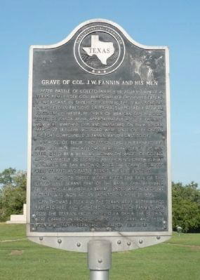 Grave of Colonel J. W. Fannin and His Men Marker image. Click for full size.