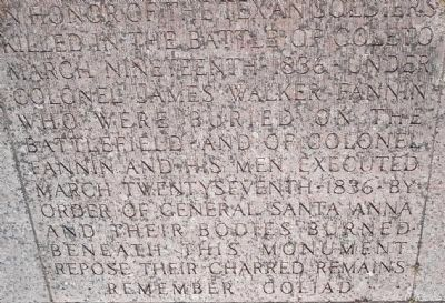 Inscription at the foot of the monument image. Click for full size.