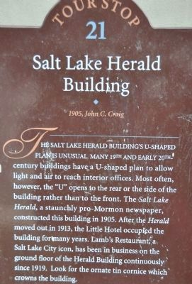 Utah Heritage Foundation Salt Lake Herald Building Marker image. Click for full size.