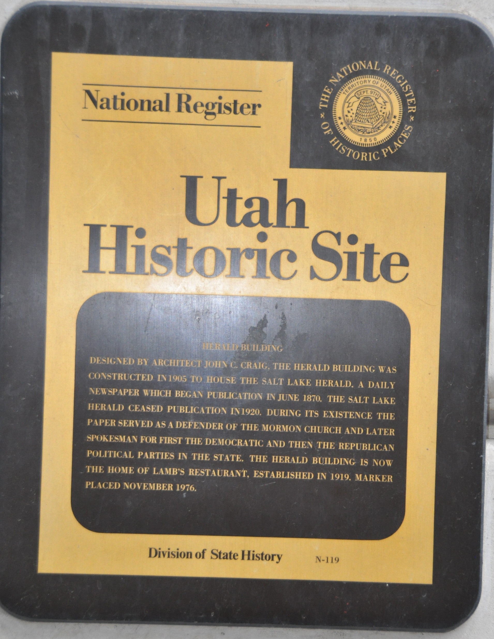 Utah State Historical Society Herald Building Marker