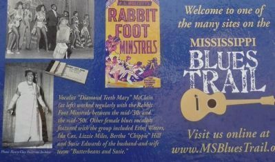 Rabbit Foot Minstrels Marker - close up of photos and captions on reverse image. Click for full size.