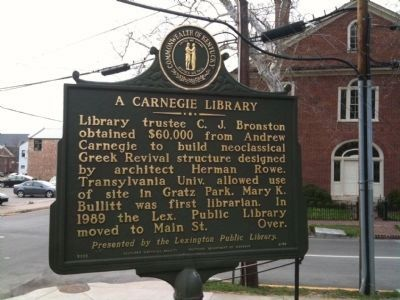A Carnegie Library marker image. Click for full size.