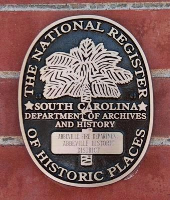 Abbeville Fire Department<br>National Register Medallion image. Click for full size.
