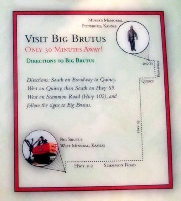 Directions from Miners' Memorial to Big Brutus image. Click for full size.