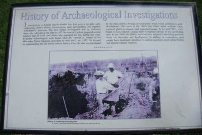 History of Archaeological Investigations Marker image. Click for full size.