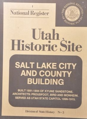 Salt Lake City and County Building Marker image. Click for full size.