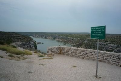 """From this point you can see the mouth of the Pecos River, the Rio Grande and hills in Old Mexico"" image. Click for full size."