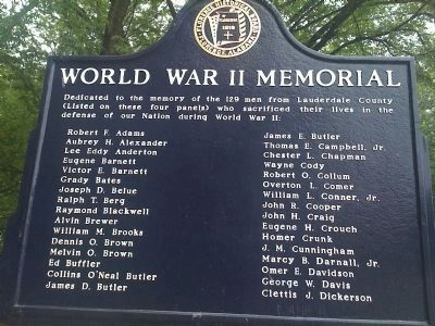 World War II Memorial Marker (Side 1) A-D image. Click for full size.