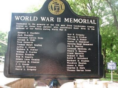 World War II Memorial Marker (Side 2) D-I image. Click for full size.