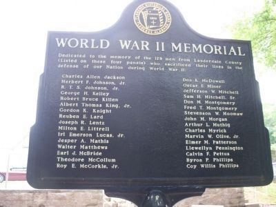 World War II Memorial Marker (Side 3) J-P image. Click for full size.