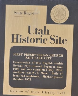 First Presbyterian Church Salt Lake City Marker image. Click for full size.