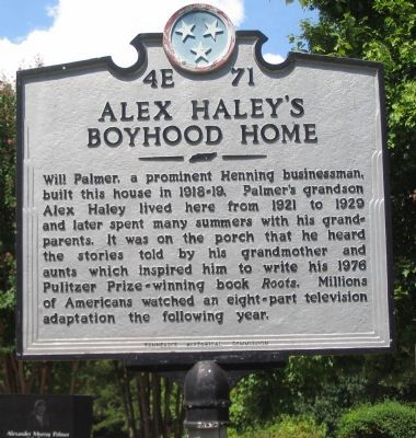 Alex Haley's Boyhood Home Marker image. Click for full size.