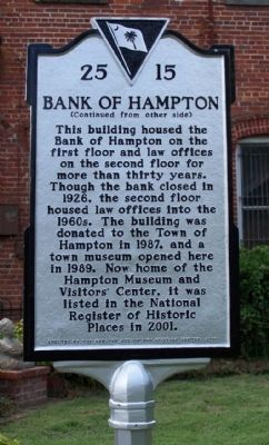 Bank of Hampton Marker, reverse side image. Click for full size.