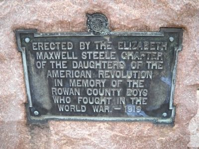 Rowan County World War I Memorial Marker image. Click for full size.