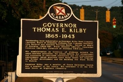 Governor Thomas E. Kilby Marker image. Click for full size.