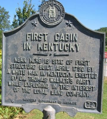First Cabin in Kentucky Marker image. Click for full size.