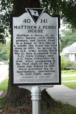 Matthew J. Perry House Marker image. Click for full size.