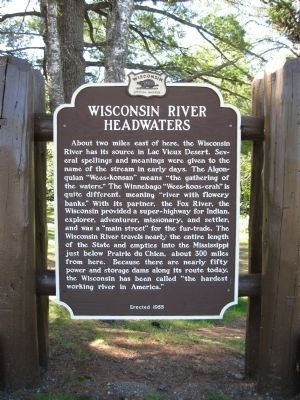 Wisconsin River Headwaters Marker image. Click for full size.