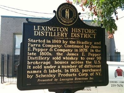 Lexington Historic Distillery District Marker - Side A image. Click for full size.