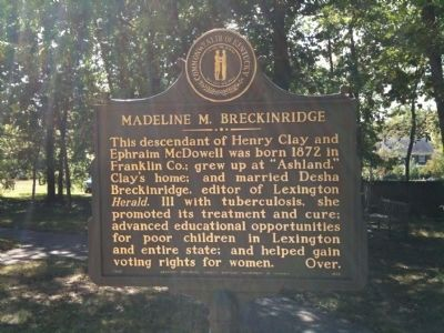 Madeline M. Breckinridge Marker image. Click for full size.