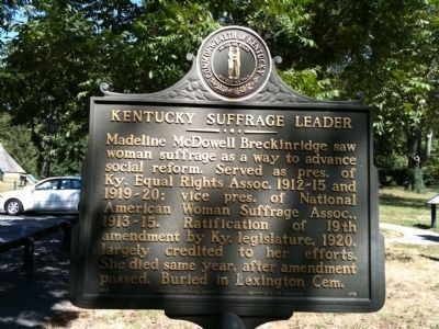Kentucky Suffrage Leader Marker image. Click for full size.