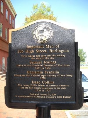 Important Men of 206 High Street, Burlington Marker image. Click for full size.