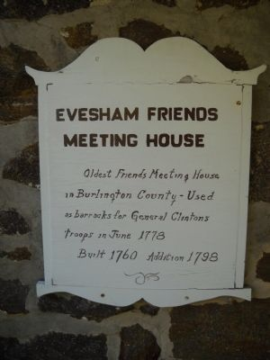 Evesham Friends Meeting House Marker image. Click for full size.