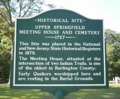 Upper Springfield Meeting House and Cemetery Marker image. Click for full size.