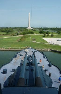 U.S.S. <i>Texas</i> - view from the bridge with the ship&#39;s forward 14 inch guns image. Click for full size.