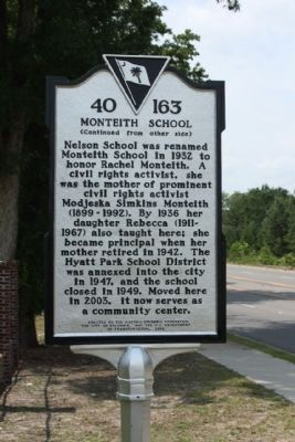 Monteith School Marker, reverse side image. Click for full size.
