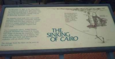 Interpertive panel explaining how <i>Cairo</i> was sunk, 12 December 1862 image. Click for full size.