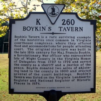 Boykin's Tavern Marker image. Click for full size.