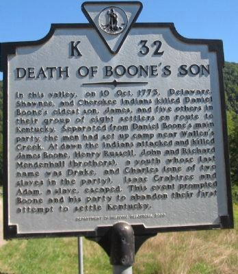 Death of Boone's Son Marker image. Click for full size.