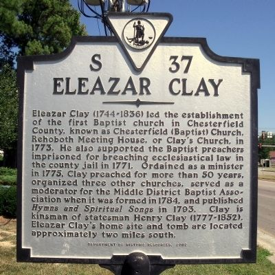 Eleazar Clay Marker image. Click for full size.