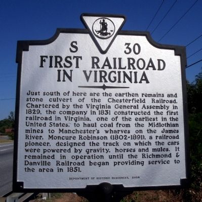 First Railroad in Virginia Marker image. Click for full size.