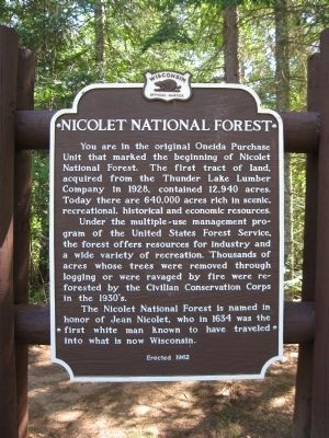 Nicolet National Forest Marker image. Click for full size.