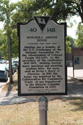Modjeska Simkins House Marker, reverse side image. Click for full size.