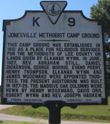 Jonesville Methodist Camp Ground Marker image. Click for full size.