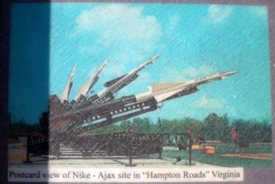 "Postcard view of Nike-Ajax site in ""Hampton Roads"" Virginia image. Click for full size."