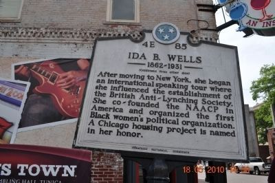 Ida B. Wells Marker (reverse side) image. Click for full size.