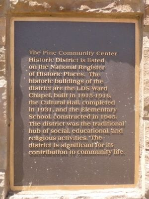 The Pine Community Center Historic District Marker image. Click for full size.