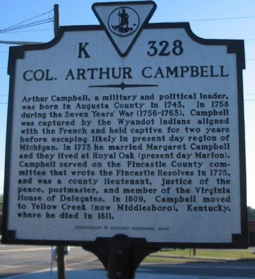 Col. Arthur Campbell Marker image. Click for full size.