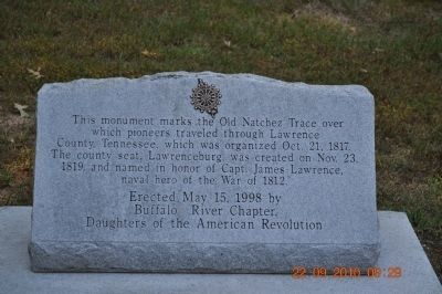 This Monument Marks The Old Natchez Trace Marker image. Click for full size.
