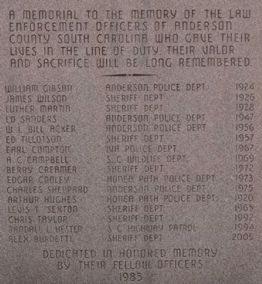 Anderson County Law Enforcement Officers Memorial image. Click for full size.