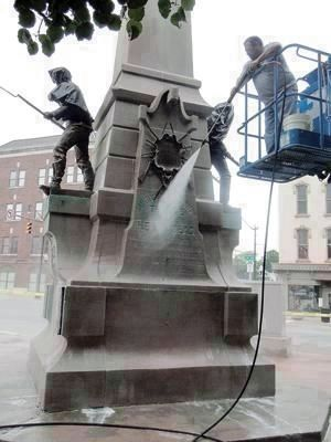 """Local Company Cleans War Memorial"" image. Click for full size."