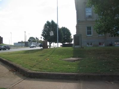 Memorials in front of the Courthouse image. Click for full size.