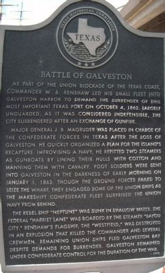 Battle of Galveston Marker, composite of 4 close-ups. image. Click for full size.