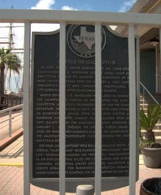 "Bars obscure ""normal"" photo of Battle of Galveston Marker. image. Click for full size."