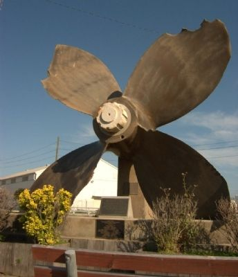 Propeller of SS High Flyer, a ship that exploded at Texas City. image. Click for full size.
