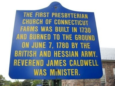 First Presbyterian Church of Connecticut Farms Marker image. Click for full size.